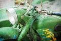 Retro motorbike green vintage headlamp textured image Royalty Free Stock Photos