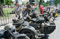 Retro motorcycles close up on display outdoors in lvov ukraine june unknown model during festival cars leopolis grand prix june Stock Photos