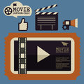 Retro movie template, media player, flat design, illustration, modern style, , concept, icons,digital, online, advertising
