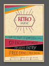Retro Music Party celebration flyer or template.