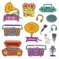 Retro musical equipment. Collection of stylish vector old tape recorders