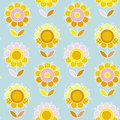 Retro naive Flower summer color seamless vector pattern Royalty Free Stock Photo