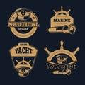 Retro nautical color vector labels on dark background