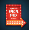 Retro neon sign with an arrow. Royalty Free Stock Photo