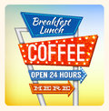 Retro neon sign breakfest coffee and lettering in the style of american roadside advertising vintage style s Stock Photos