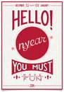 Retro new year poster with a cheerful greeting vintage christmas text greetings and wishes hello you must have fun vector ai Royalty Free Stock Photography