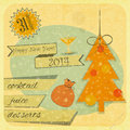 Retro new years card with christmas tree invitation to the year party illustration Stock Photo