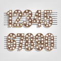 Retro numbers with light bulbs