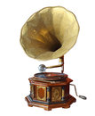 Retro old gramophone with horn isolated on white clipping path Royalty Free Stock Photography