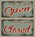 Retro Old Open and Closed Banners in Grunge Royalty Free Stock Photo