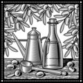 Retro olive oil still life black and white Royalty Free Stock Image