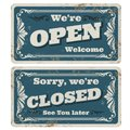 Retro open and closed vector store or pub signs with rusty metal texture Royalty Free Stock Photo