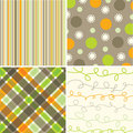 Retro orange brown squares Stock Photos
