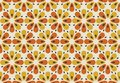 Retro orange and yellow color 60s flower motif. Geometric floral