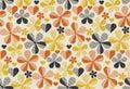 Retro orange and yellow color 60s flower motif.