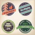Retro organic badge set design of four Stock Image
