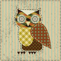Retro owl the in patchwork style Stock Photography