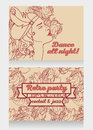 Retro party invitation design with sample text and beautiful flapper woman profile Royalty Free Stock Photo
