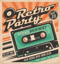 Retro party poster design template disco music event at night club vintage invitation Stock Photos