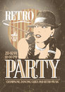 Retro party poster with old-fashioned smoking woma