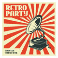 Retro party poster template with old gramophone. Vector vintage illustration. Royalty Free Stock Photo