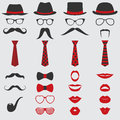 Retro party set for design photo booth scrapbook in vector glasses hats lips mustaches ties and pipe Royalty Free Stock Images
