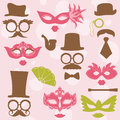 Retro party set glasses hats lips mustaches masks design photo booth scrapbook Royalty Free Stock Images