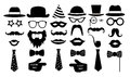 Retro party set. Glasses hats lips mustaches tie monocle icons. vector illustration.