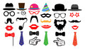 Retro party set. Glasses hats lips mustaches tie monocle. Isolated vector.