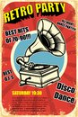 Retro party. Vintage gramophone on grunge background. Design elements for poster. Royalty Free Stock Photo