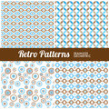 Retro patterns four seamless geometric for web or print Stock Photography