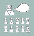 Retro people icons with speech bubble Royalty Free Stock Photography