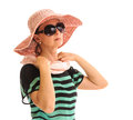 Retro person dressing scarf and hat woman in sunglasses straw sunblock arranging portrait isolated on white background Royalty Free Stock Image