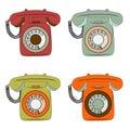 Retro phone items set on white Royalty Free Stock Photo