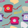 Retro phone seamless funny pattern design Stock Photo