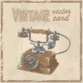 Retro phone stylish vintage postcard s Royalty Free Stock Photos