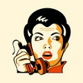Retro phone woman Stock Photography