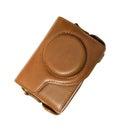 Retro photo camera leather case isolated on white background Stock Image
