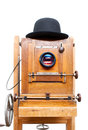 Retro photo camera wooden and bowler hat Stock Photography