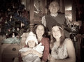 Retro photo of christmas portrait happy family photographer Stock Photo