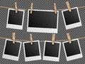 Retro photo frames hanging on rope  checkered transparent background vector illustration Royalty Free Stock Photo