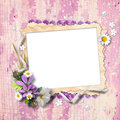 Retro photo framework with flowers Stock Images