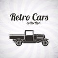 Retro pickup truck car vintage collection classic garage sign vector illustration background can be used for design card Royalty Free Stock Photo