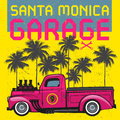 Retro pickup truck poster with text Santa Monica Garage