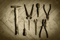 Retro picture of old tools Royalty Free Stock Photos