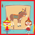 Retro Pin the tail on the Donkey Birthday Party Stock Photos