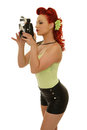 Retro pin up photo woman holding vintage camera Stock Images