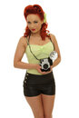 Retro pin up photo woman holding vintage camera Royalty Free Stock Photo