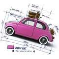 Retro pink car design Stock Photo