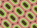 Retro pink and green rings Stock Photos